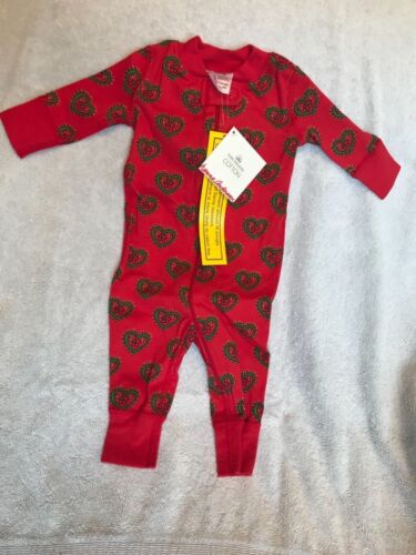 0-6mos 50 NWT Hanna Andersson Girls Night Night Sleeper in Red Swedish Heart