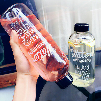 New Portable Clear Bottle Sport Fruit Juice Pure Water Cup Travel Bottle 500ML