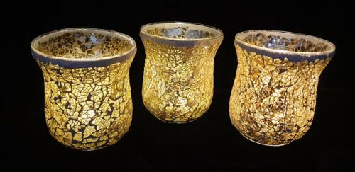 3er Set Mosaik Windlicht Glas Teelichthalter gold Tischdeko inkl 3 LED Teelichte