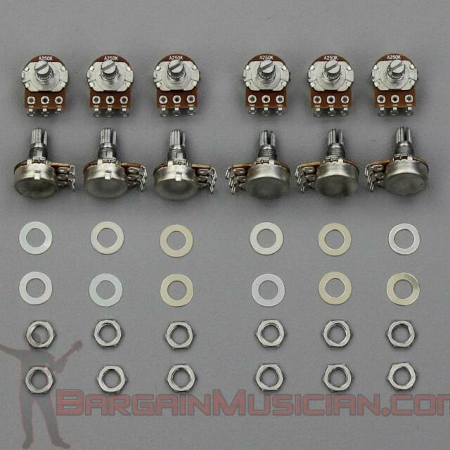 Lot of 12 A250K Volume / Tone Pots for Guitar / Bass, 16mm, Audio Potentiometer