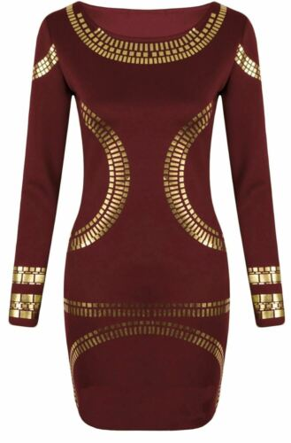 New Ladies Plus Size Gold Foil Print Long Sleeve Bodycon Midi Dress 16-26