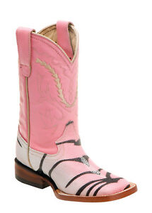 12e07e28a0e Cowboy Boot Youth Kids Ferrini Pink Stingray Zebra Tiger Print Sq ...
