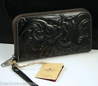 Patricia Nash Tooled Small Leather Goods Black Leather Biscay Wallet
