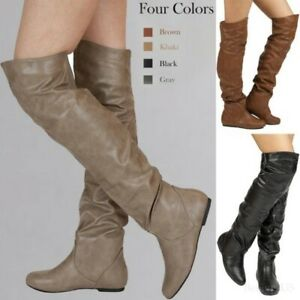 Occident Women Over Knee Thigh High Knight Boots Low Block Heel Pleated Shoes SZ