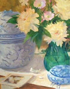 Peonies-white-and-blue-vessel-Impressionism-Orig-Oil-Margaret-Aycock-canvas