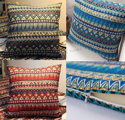 "18""  Bohemia BOHO Linen Pillow Case Sofa Waist Throw Cushion Cover Home Decor"