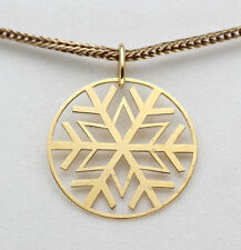 New 18K Yellow Gold Pendant Charm Sterling Silver SNOWFLAKE NICE Christmas Gift