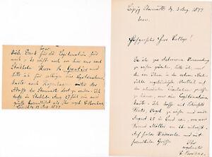 Bruhns, Karl Christian. Astronom - Brief und Postkarte an Hugo Gylden 1877