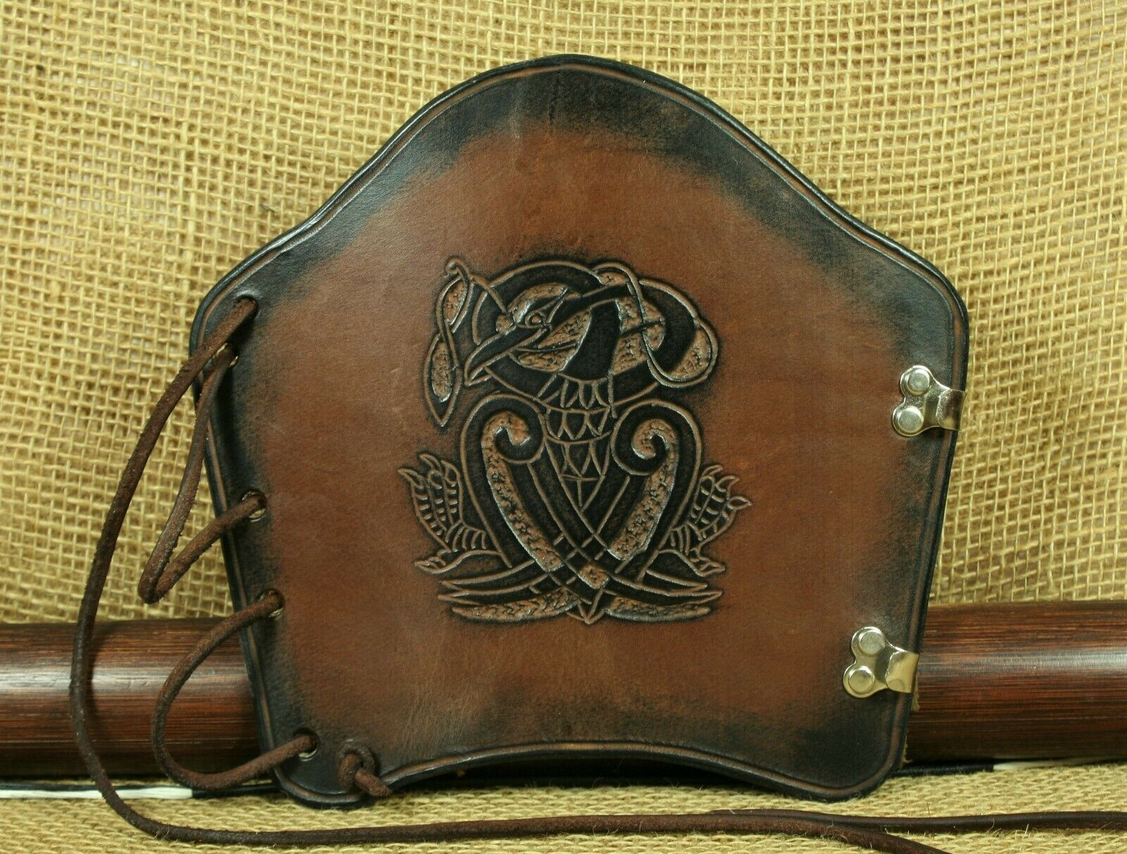 Bow Cuff Bracers Celtic Bird Embossing Leather Brown Viking Cuff