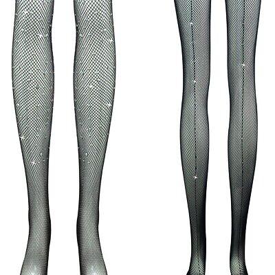 2 Calze Collant Una Taglia Piena Gamba Completo/singolo Sembrano Diamante Nightout Parte Wear-mostra Il Titolo Originale Ampie Varietà
