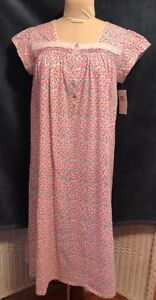 Eileen West S 100% Cotton Long Knit Short Sleeve Summer pink floral ... d197a701c