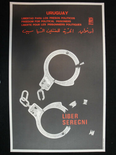 OSPAAAL Original Political Poster Uruguay Freedom for Political prisoners 1980