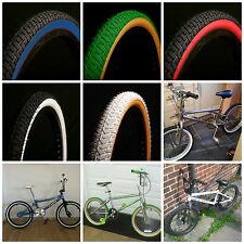 2 OF CURIOUK COLOURED BMX TYRES 20 x 2.125 CURIO UK OLD SCHOOL
