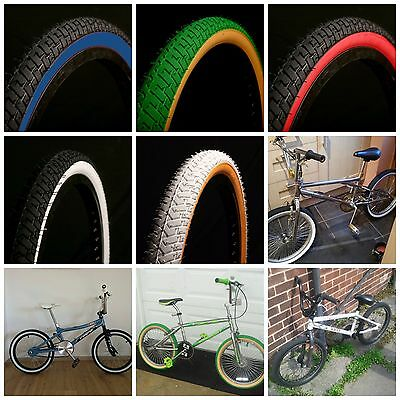"New BMX Bicycle Tires /& Tubes 20 x 2.125 Fits 1.75 1.95 White Wall BMX 20/"" Bike"