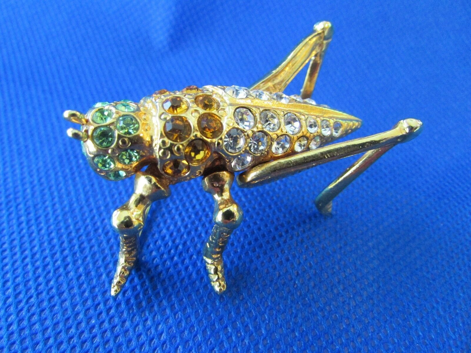 Vtg Grasshopper BroochPin Made in Mexico Bright Rhinestones gold Plated