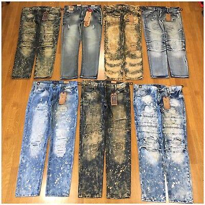 Brand New Mens Size 32 Fashion Denim Moto Rips Acid Wash Bleached Jeans Pants