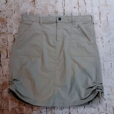 Womens ISIS Skirt Size 12 Tan Nylon Stretch Active Travel Hike Quick Dry Ruched