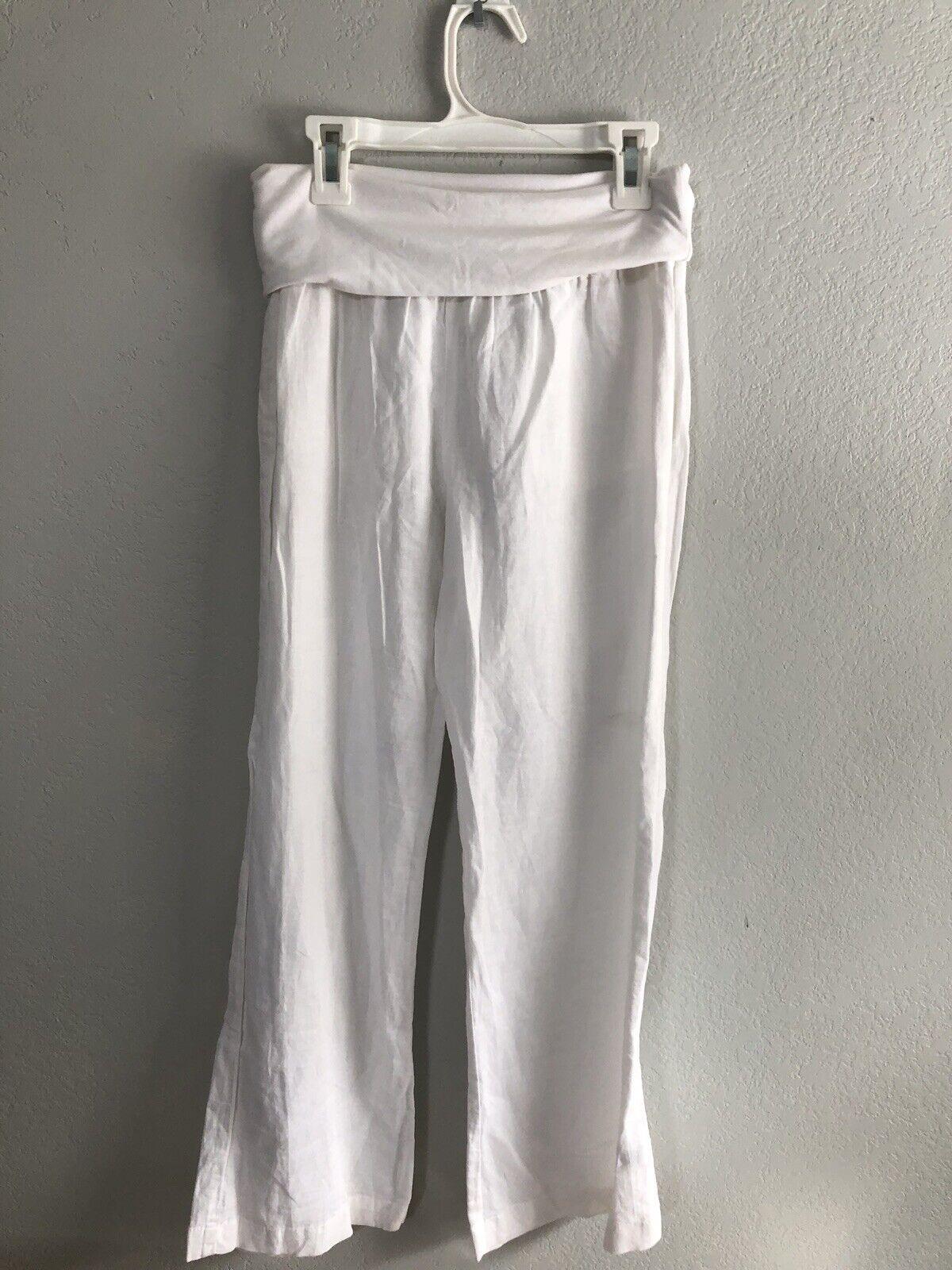 New Splendid Weiß  Linen Roll Waist Pant Medium