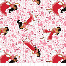 Disney Elena of Avalor Poses in Geranium Pink 100% cotton fabric by the yard