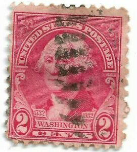 1732-1932-Bicentennial-Red-George-Washington-2-Cent-Fancy-Cancel-Hinged-US-Stamp