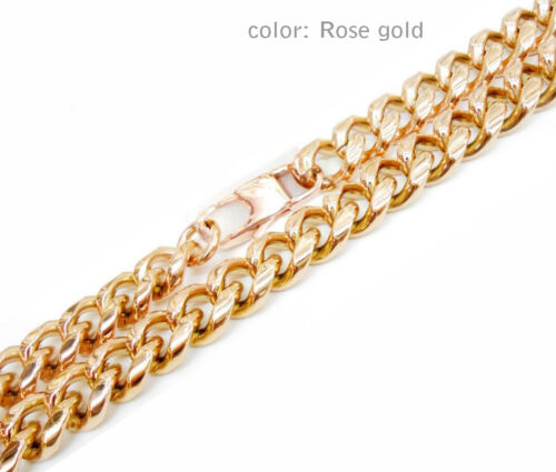 10mm Mens Titanium Stainless Steel Gold Chain Rose Gold Chain Necklaces Bracelet