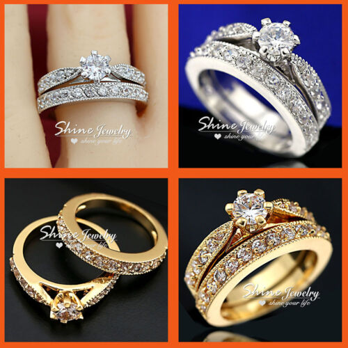 9K 9CT GOLD FILLED ANNIVERSARY WEDDING SIMULATED DIAMOND LADIES SOLID RINGS SETS