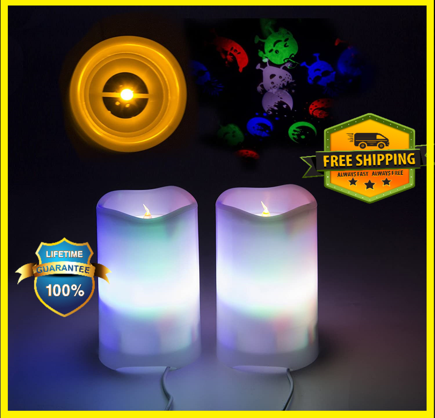 2 x LED Candle Projection Lights - Flame less Electric Candles with Remote Timer