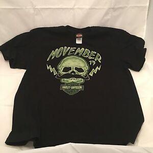 Official HD Harley Davidson Motorcycles Movember November Moustache T Shirt XL