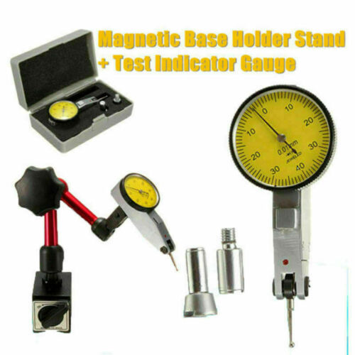 DTI Dial Indicator Gauge with Magnetic Base Stand Engineers Clock /& Stand Set