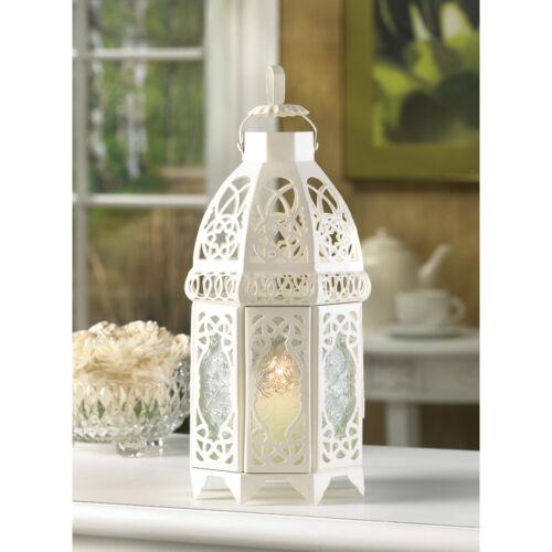 """Large 12"""" White Moroccan whitewashed lattice lace Lantern shabby Candle holder"""