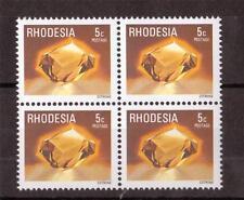 RHODESIA, 1978 DEFINS, GEMSTONES, 5c  CITRINE, SG 558, MNH BLOCK 4.