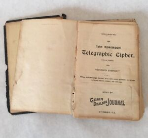 Details about Robinson Telegraphic Cipher 1897 1917 Revised Edition Book  Grain Dealers Antique