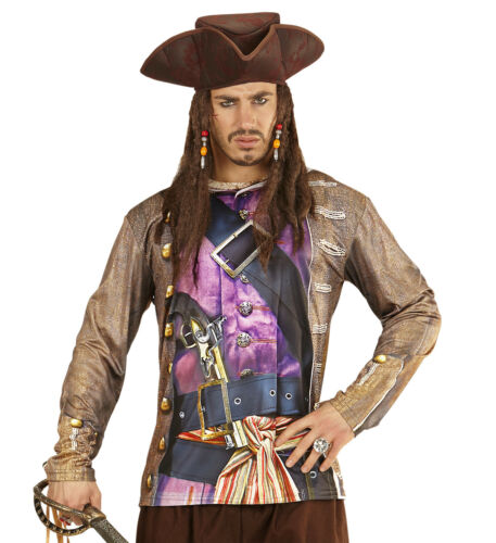 HERREN PIRATENSHIRT Piraten Kostüm Seeräuber Karibik Bedrucktes Hemd Fototshirt