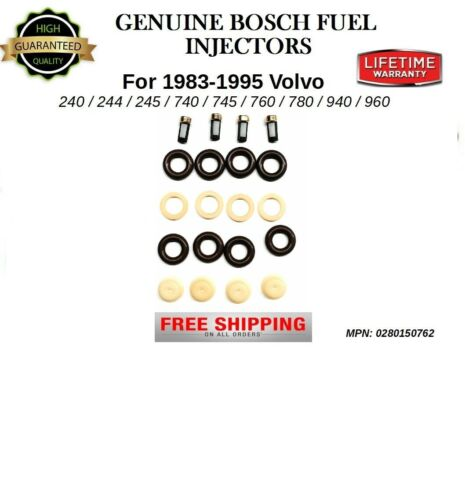 Set//4 OEM Bosch Fuel Injectors REPAIR KIT for 1992-1994 Volvo 960 *0280150762
