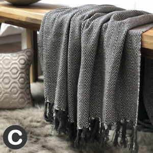 Luxury-100-Cotton-Dark-Grey-Herringbone-Throw-Heavy-Large-Bed-Sofa-Blanket