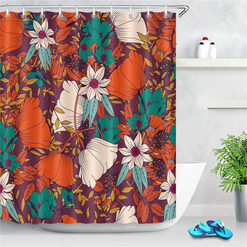 Safflower Rot Waterproof Bathroom Polyester Shower Curtain Liner Water Resistant 93f360