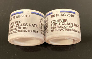Two 2 Rolls / Coil of 2019 US FLAG FOREVER 200 USPS Postage Stamps