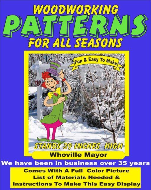 GRINCH WHOVILLE MAYOR YARD ART PATTERN WOOD WORKING DECORATION