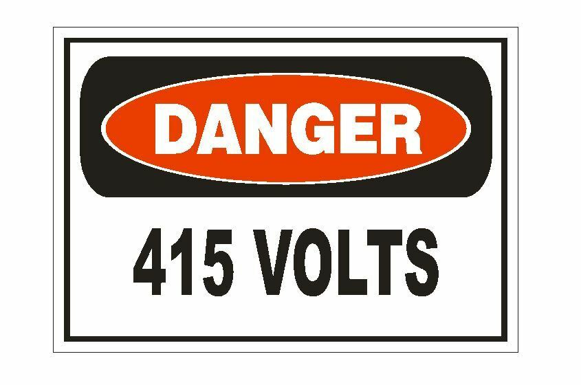 Danger 415 Volts Electrical Sticker Safety Sign Decal Electrician Label D864