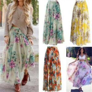 New-Women-Chiffon-Floral-High-Waist-Maxi-Dress-Skater-Flared-Pleated-Long-Skirt