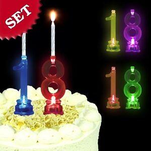 BANDTILEGeburtstagskerzen + LED-Kerzenhalter im Set als Zahl für Torte zum 18.Geburtstag