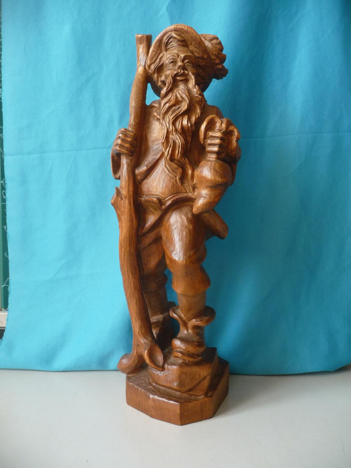 Große Holzfigur Wandersmann Rübezahl Deko 42 cm