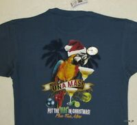 Sz M Newport Blue & Gold Macaw Parrot Mens Holiday Una Mas Margarita T-shirt