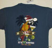 L Newport Blue & Gold Macaw Parrot Men's Holiday Una Mas Margarita T-shirt