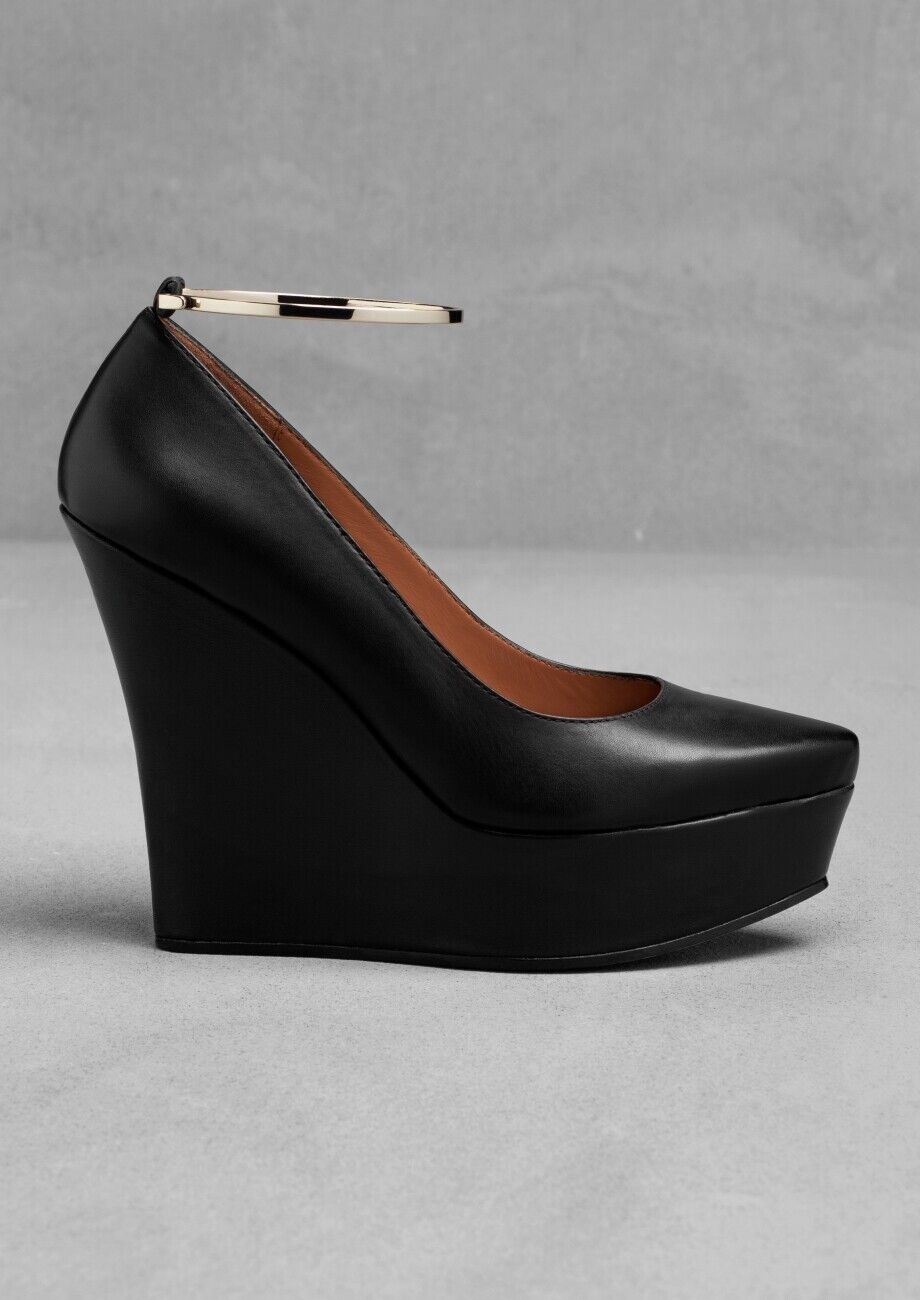 BNIB & OTHER STORIES noir WEDGE HEELED LEATHER & or BANGLE chaussures EU 39