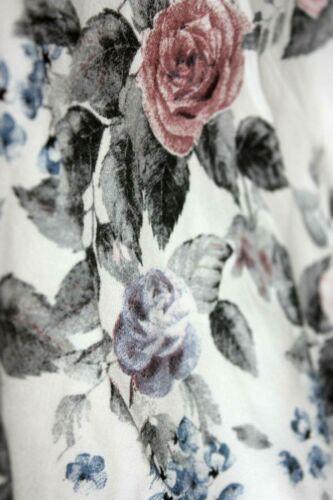 Sweathose 36-40 Damen Joggpants Hose Jogging Blumen Flower Weiß Grau Rosa H 4