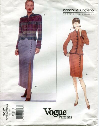 14-16-18 Vogue 2017 Paris Original Emanuel Ungaro Suit Sewing Pattern 8-10-12