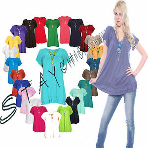 Ladies-Womens-Short-Sleeve-Frill-Necklace-Summer-Gypsy-Tunic-Top-Plus-Size-12-30