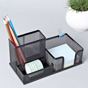 Office-Desk-Tidy-Organiser-Pen-Holder-Mesh-Stationery-Container-Popular-Metal