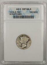 1916-D 10C Mercury Dime ANACS AG-3 Details Scratched  (Better Coin)